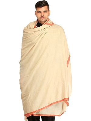Off-White Plain Pure Pashmina Dushala (Lohi) for Men with Sozni Embroidery on Border