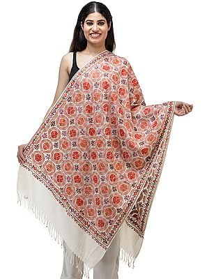 Stole from Kashmir with Ari Embroidered Flowers All-Over