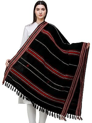Shawl from Nagaland with Woven Border and Thread Weave