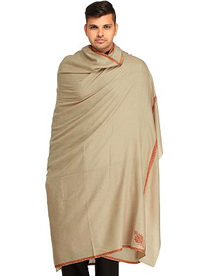 Cement-Gray Plain Pure Pashmina Dushala (Lohi) for Men with Sozni Embroidery on Border