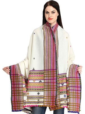 Ivory Shawl from Kutch with Woven Border and Bootis