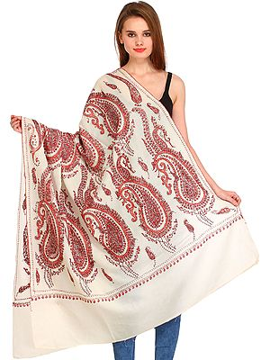Tusha Shawl from Kashmir with Sozni Hand-Embroidered Giant Paisleys