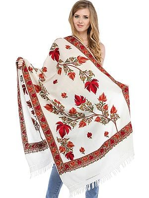 Stole from Kashmir with Ari-Embroidered Maple Leaves by Hand
