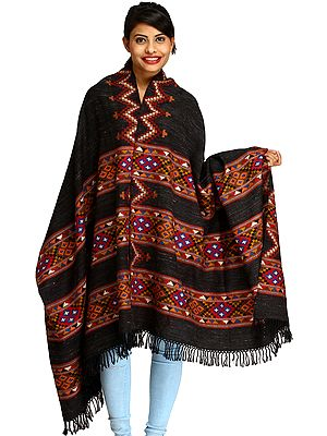 Black Shawl from Kullu with Kinnauri Woven Triple Border and Zigzag Weave