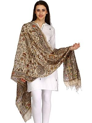 Oyster-Gray Dupatta from Bengal with Printed Warli Folk Motifs