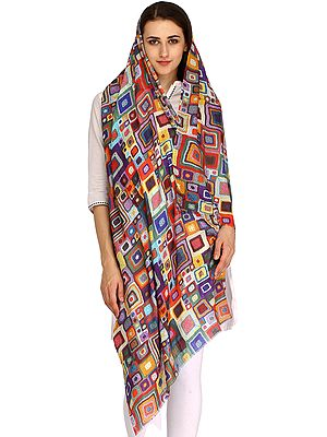 Multicolor Digital-Printed Stole from Amritsar with Geometrical Design