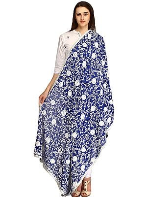 Heavy Dupatta from Punjab with Phulkari Embroidered Flowers and Sequins