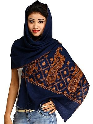 Estate-Blue Sozni Hand-Embroidered Tusha Stole from Kashmir with Paisleys