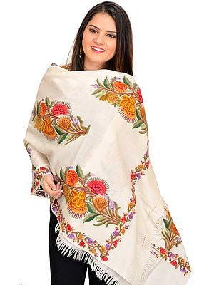 Stole from Kashmir with Ari Hand-Embroidered Bouquet of Flowers