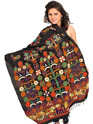 Embroidered Shawl from Kutch with Mirrors