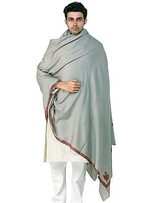 Men's Tusha Shawl from Kashmir with Sozni Hand-Embroidery on Border