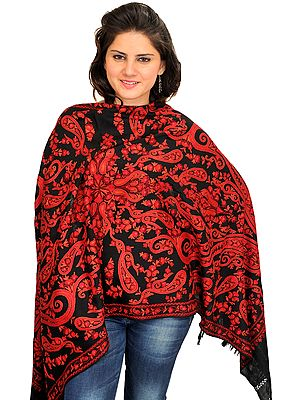 Black and Red Stole from Kashmir with Ari Hand-Embroidered Paisleys