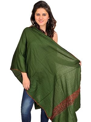 Rifle-Green Plain Tusha Stole from Kashmir with Sozni Hand-Embroidery on Border