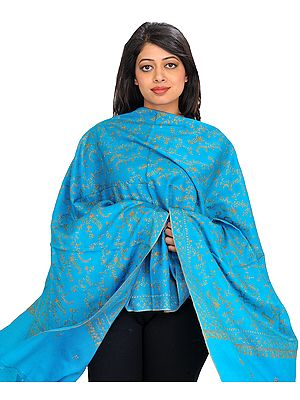 Hawaiian-Ocean Tusha Stole from Kashmir with Needle Embroidery by Hand