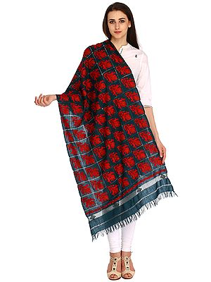 Deep Teal Stole From Kashmir with Ari-Embroidered Paisley and Cutwork