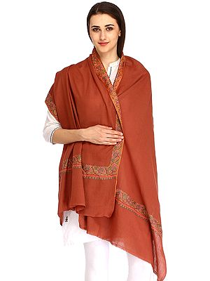 Plain Clove-Brown Tusha Stole with Needle-Embroidery By Hand