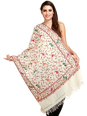 Ivory Ari Stole with Embroidered Paisleys in Multi-color Thread