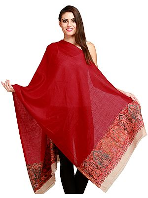 Scarlet-Red Amritsari Kani Stole with Woven Paisleys on Border