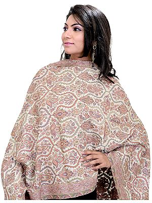 Off-White Kani Jamawar Stole with Woven Paisleys in Multicolor Thread