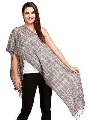 Wild-Dove Cashmere Scarf from Nepal with Woven Checks