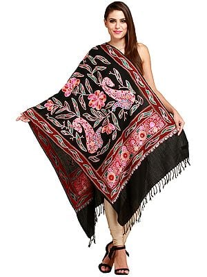 Caviar-Black Stole from Amritsar with Ari-Embroidery in Multicolor Thread