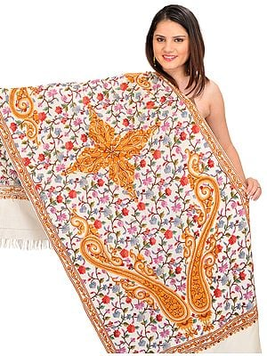 Kashmiri Stole with Ari Hand-Embroidered Flowers and Paisleys