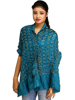 Pagoda-Blue Crinkled Bandhani Tie-Dye Scarf