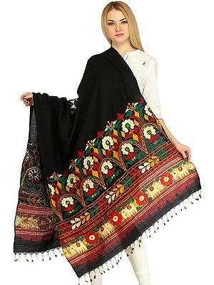 Shawl from Kutch with Embroidered Flowers and Mirrors by Hand