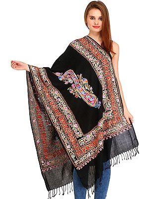 Jet-Black Kalamkari Stole from Amritsar with Ari-Embroidery and Paisley