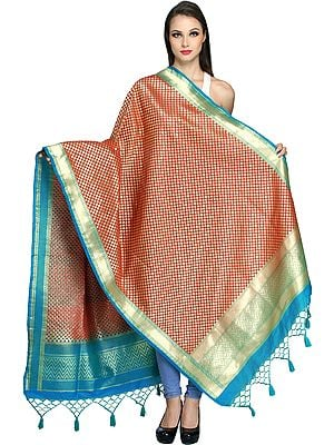 Brocaded Banarasi Dupatta with Zari-Woven Bootis All-Over