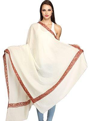 Ivory Plain Tusha Shawl from Kashmir with Sozni Hand-Embroidery on Border