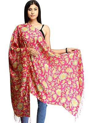 Magenta Floral-Printed Stole