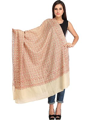 Tusha Shawl from Kashmir with Needle Hand Embroidery All-Over