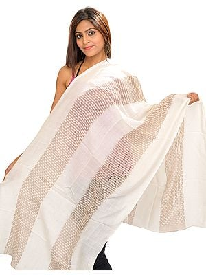 Ivory Semi-Cashmere Reversible Stole with Thread Weave