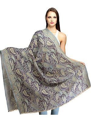 Folkstone-Gray Reversible Jamawar Shawl with Woven Paisleys All-Over