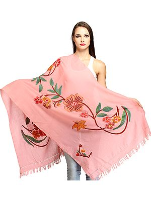 Kashmiri Stole with Ari Hand-Embroidered Flowers and Butterfly