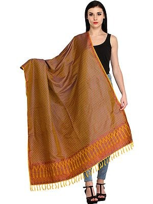 Chinese-Yellow Brocaded Shawl from Banaras with Tanchoi Weave All-Over