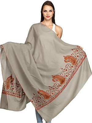 Plain Kashmiri Tusha Shawl with Needle Hand-Embroidered Paisleys on Border