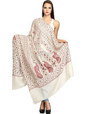 Ivory Tusha Shawl from Kashmir with Sozni Hand-Embroidery All-Over