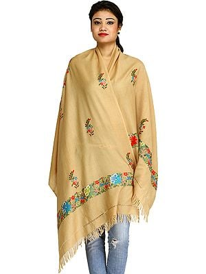 Ari Kashmiri Chakra Stole with Floral Hand-Embroidery and Butterflies