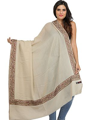 Plain Shawl from Amritsar with Paisleys Embroidered Patch Border