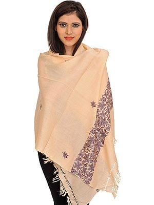 Ari Kashmiri Stole with Floral Hand-Embroidery on Border