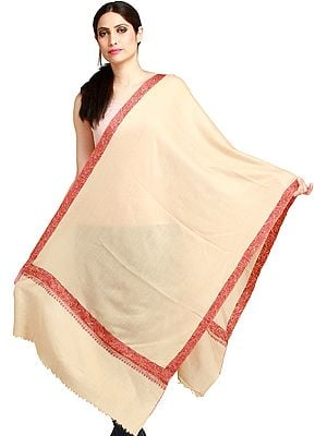 Cream Plain Kashmiri Tusha Stole with Needle Hand-Embroidered Border