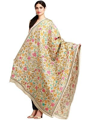 Alabaster-Gleam Kantha Dupatta from Kolkata with Hand-Embroidered Foliage