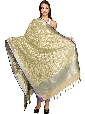 Banarasi Brocaded Dupatta with Floral Weave in Zari Thread