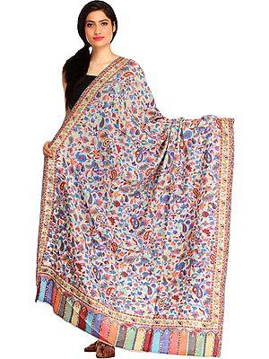 Multicolor Kani Jamawar Shawl with Woven Paisleys All-Over