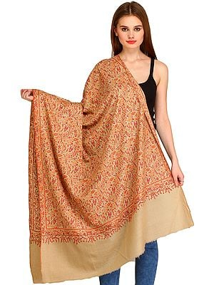 Crème-Brulee Kashmiri Pure Pashmina Shawl with All-Over Sozni Embroidery by Hand