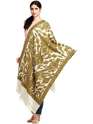 Ivory and Olive Kashmiri Stole with Ari Hand-Embroidered Paisleys
