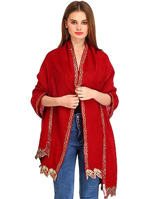 Plain Stole from Amritsar with Zari Thread-Embroidery and Jagged Border