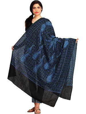 Kashmiri Tusha Shawl with Needle Hand-Embroidered Paisleys and Giant Mandala